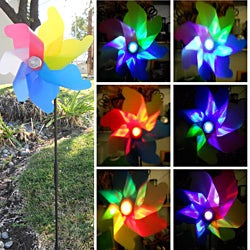 Solar Garden Windmill Spinner Color Changing Light