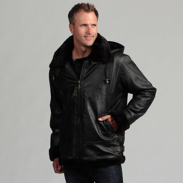 Tanners Avenue Men's Black Leather Shearling Bomber Jacket