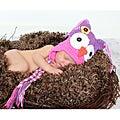 Handmade Girl's Pink and Purple Owl Hat