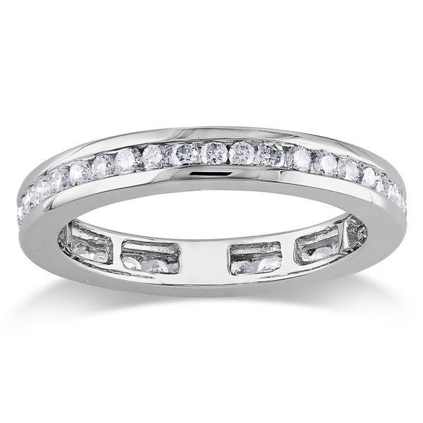 Miadora 14k White Gold 4/5ct TDW Diamond Eternity Ring (G-H, I1-I2)
