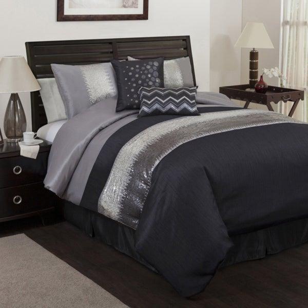 Lush Decor Grey/Black Night Sky 6-piece Comforter Set