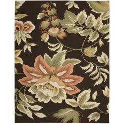 "Nourison Hand-Hooked Fantasy Brown Floral Rug (8' x 10'6"")"