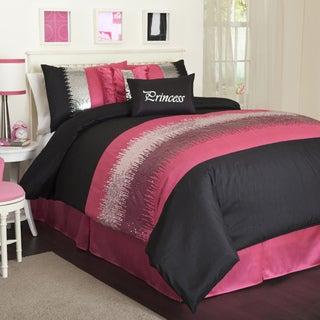 Lush Decor Black/Pink Night Sky 6-piece Comforter Set
