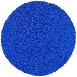 Hand-woven Shagadelic Neon Blue Chenille Rug (5' Round)