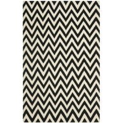 Safavieh Hand-woven Moroccan Reversible Dhurrie Chevron Black/ Ivory Wool Rug (9' x 12')