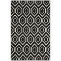 Safavieh Moroccan Reversible Dhurrie Black/Ivory Geometric Pattern Wool Rug (8' x 10')