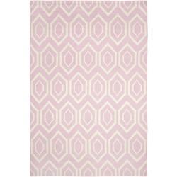 Safavieh Hand-woven Moroccan Reversible Dhurrie Pink/ Ivory Wool Rug (8' x 10')