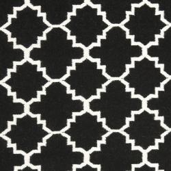 Safavieh Moroccan Reversible Dhurrie Black/Ivory Wool Area Rug (9' x 12')