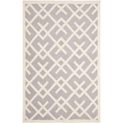 Safavieh Hand-woven Moroccan Reversible Dhurrie Grey/ Ivory Wool Rug (8' x 10')
