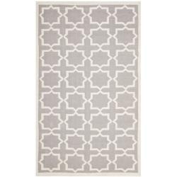 Safavieh Moroccan Reversible Dhurrie Grey/Ivory Cross Pattern Wool Rug (9' x 12')