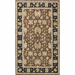 nuLOOM Handspun Decorative Persian Brown New Zealand Wool Rug (5' x 8')