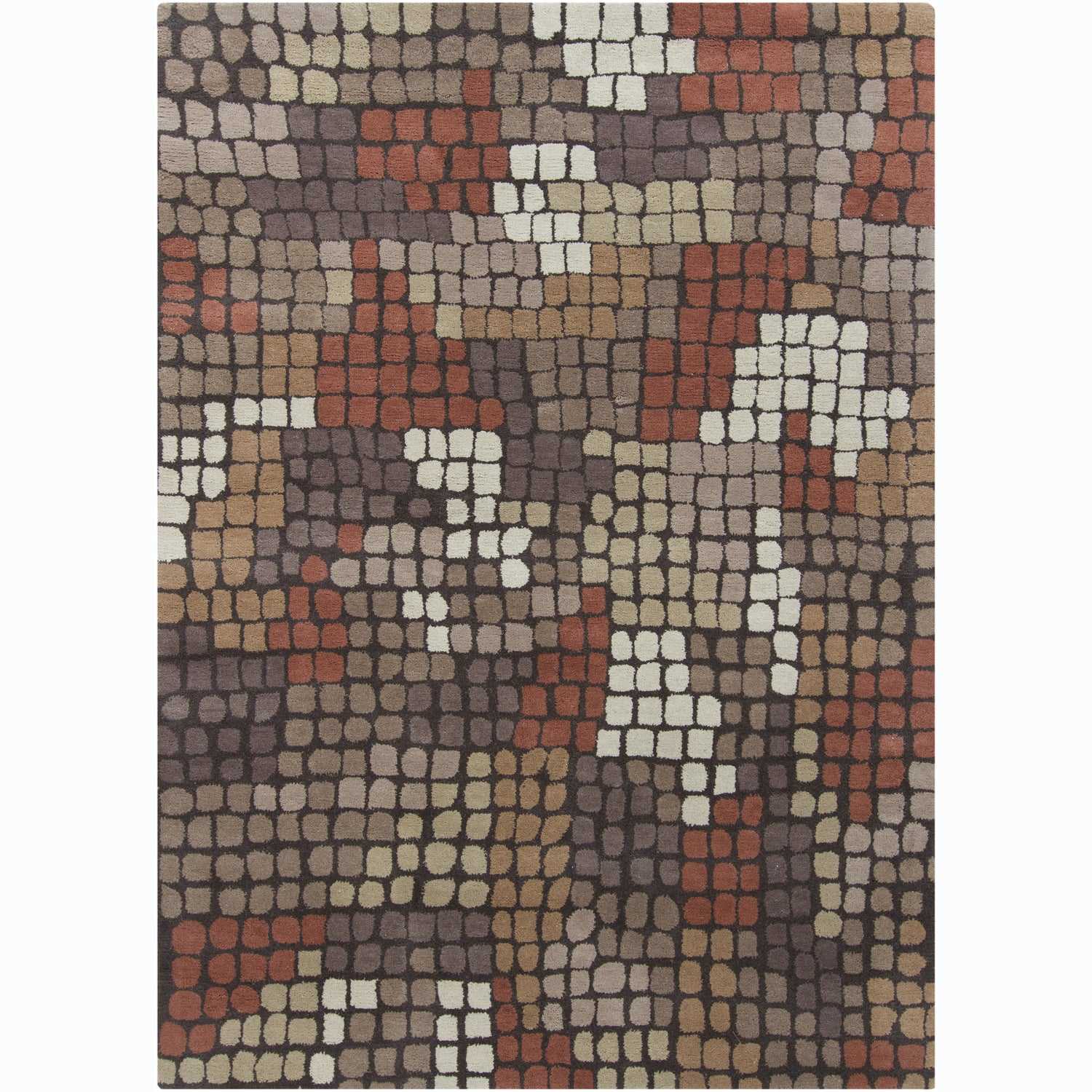 Hand-tufted Mani Abstract Brown Wool Rug (5' x 7')