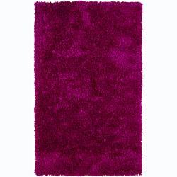 Hand-woven Safir Fuchsia Pink Shag Rug (3'6 x 5'6)