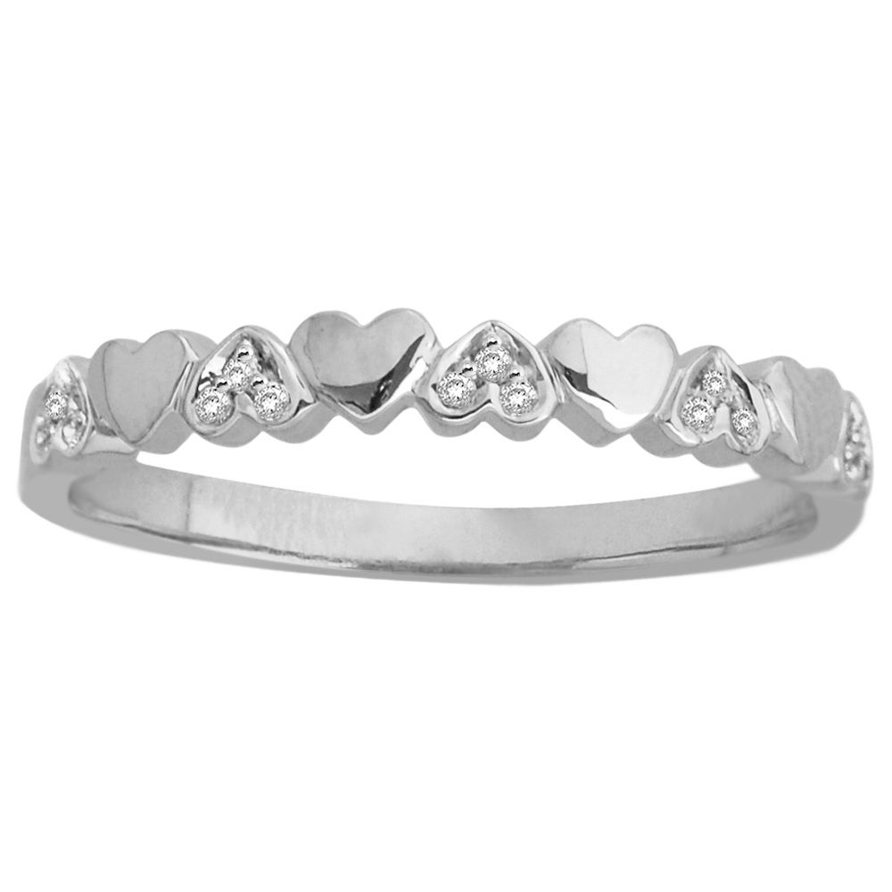 14k White Gold White Diamond Accent Heart Band (H-I, I1-I2)
