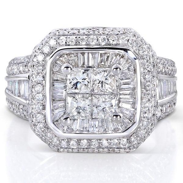 Annello 14k White Gold 2ct TDW Diamond Engagement Ring (H-I, I1-I2)