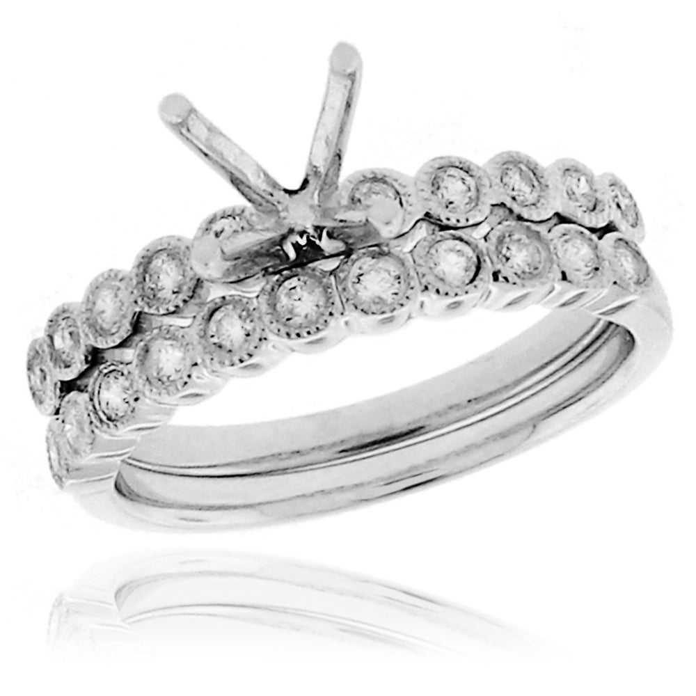 14k White Gold 1/3ct TDW Diamond Semi-mount Ring