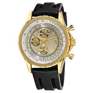 Akribos XXIV Men's Multifunctional Black Rubber Strap Watch