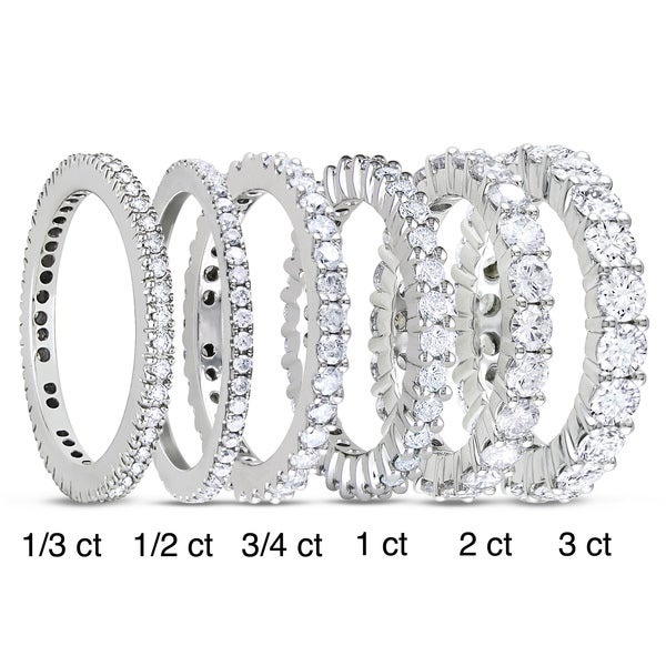 Miadora 14k White Gold 1/3 to 3ct TDW Diamond Eternity Ring (G-H, I1-I2)