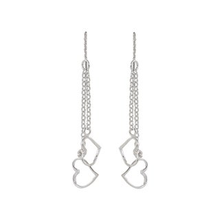Sunstone Sterling Silver Double Heart Chain Dangle Earrings