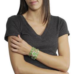 Geneva Platinum Women's Rhinestone Studded Wrap-Around Mineral Crystal Watch