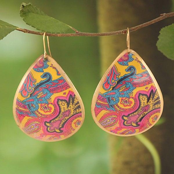 Handcrafted Goldtone & Pink Bright Enamel Teardrop Earrings (India)