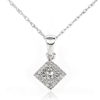 Annello 10k/14k White Gold 1/10ct TDW Multi-stone Princess Diamond Necklace (H-I, I1-I2)