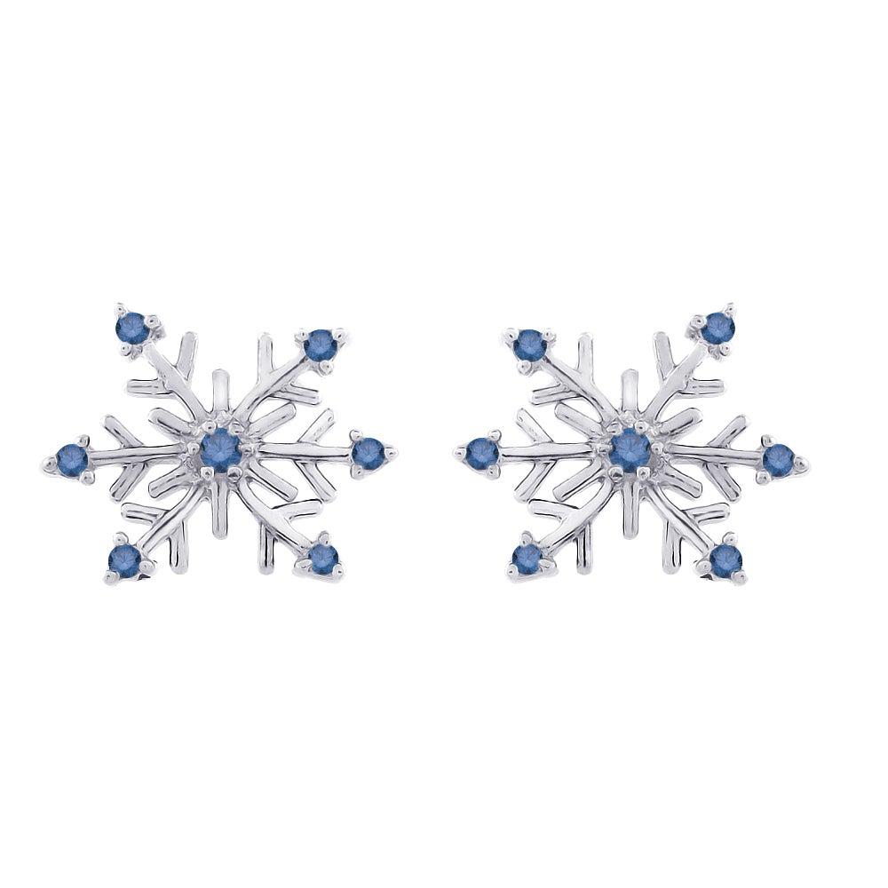 Blue Diamond Snowflake Earrings