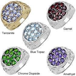 Malaika Sterling Silver Gemstone Cluster Filigree Ring