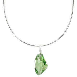 Jewelry by Dawn Green Crystal Galactic Sterling Silver Omega Necklace