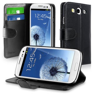 Insten Folio Flip Leather Wallet Phone Case with Stand/ Card Slot for Samsung Galaxy S III i9300