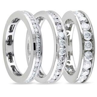 Miadora 14k White Gold Channel Set Diamond Wedding Band (G-H, I1-I2)