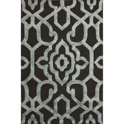 nuLOOM Handmade Marrakesh Charcoal Faux Silk / Wool Rug (7'6 x 9'6)