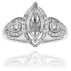 14k White Gold 1/3ct TDW Marquise Diamond Prong-set Ring (G-H, SI1/SI2)