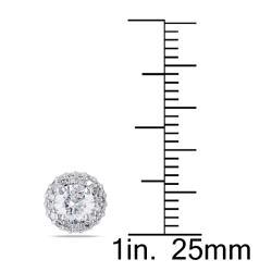 Miadora 14k White Gold 1ct TDW Diamond Stud Halo Earrings(G-H, I1-I2)