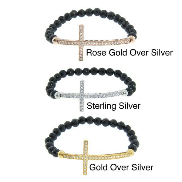 Eternally Haute Silver Black Agate Sideways Cross Stretch Bracelet