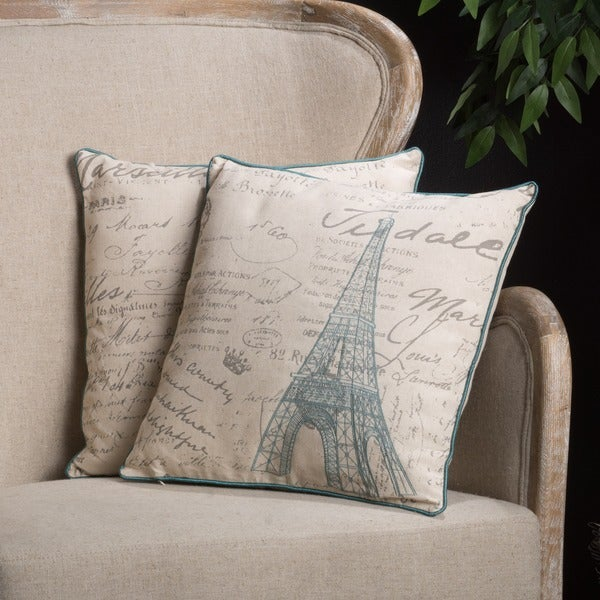 Christopher Knight Home Embroidered Eiffel Tower Pillows (Set of 2)