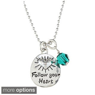 Charming Life Silver Crystal Birthstone 'Follow Your Heart' Necklace