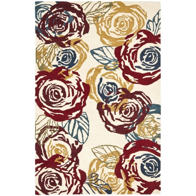 Safavieh Handmade Roses Ivory New Zealand Wool Rug (7'6 x 9'6)
