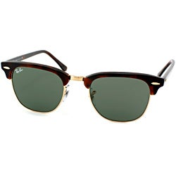 ray ban golden glass  Ray Ban RB 3016 Clubmaster W0366 Tortoise and Arista Gold Unisex Sunglasses P14378245