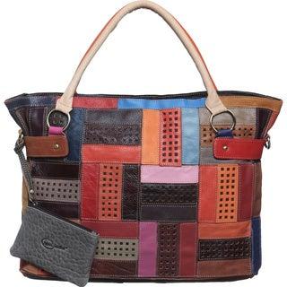 Amerileather Rainbow Mazy LeatherTote Bag