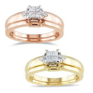 Miadora 10k Gold 1/4ct TDW Diamond Bridal Ring Set (H-I, I2-I3)