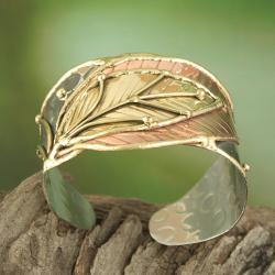 Handcrafted Wide Brass/ Copper Leaf Cuff Bracelet (India)