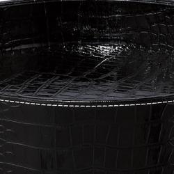 Black Crocodile Pattern Round Tray Table