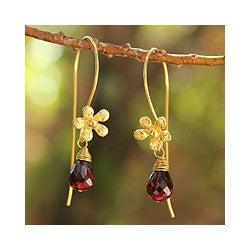 Gold Overlay 'Frangipani Splendor' Garnet Flower Earrings (Thailand)