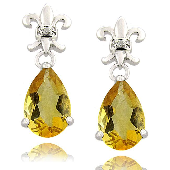 Dolce Giavonna Sterling Silver Citrine and Diamond Accent Fleur de Lis Drop Earrings