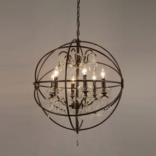Gallery Foucault's Orb Crystal Iron 6 Light Chandelier