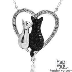 ASPCA Tender Voices Silver 1/3ct TDW Diamond Cat Necklace (I-J, I2-I3)