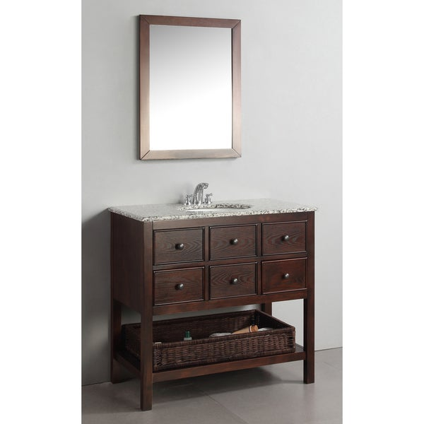 New Haven Walnut Brown 36 Inch Bath Vanity With 3 Drawers And Dappled Grey Gr