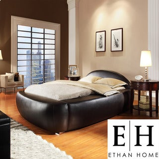 ETHAN HOME Yorkshire Black Bonded Leather Modern King-size Bed