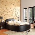 ETHAN HOME Dorchester Black Bonded Leather Modern Upholstered Bed
